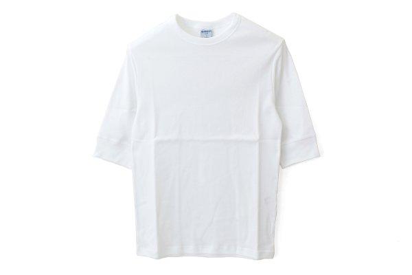 画像1: クルーネック 五分袖カットソー 103-07(BLANC)