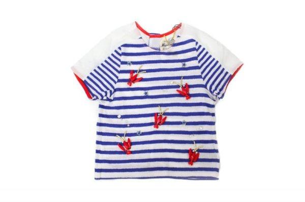 画像1: SALE55%OFF!! KID'S 刺繍入りボーダーTシャツ(ロブスター)