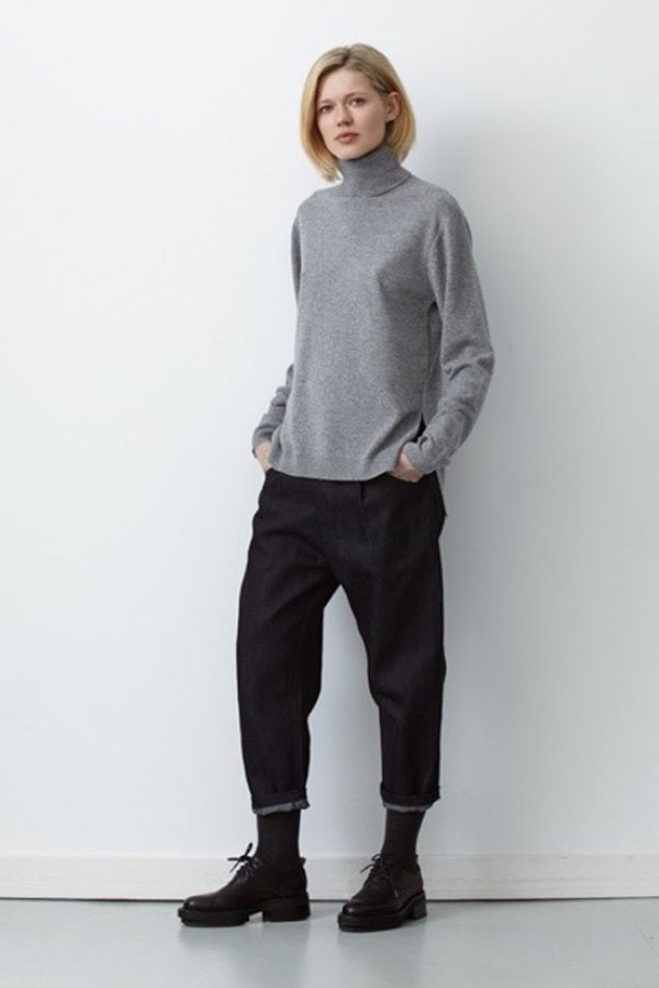 画像2: SALE40%OFF!! MILLER CASHMERE SPLIT SEAM TURTLENECK(GY)