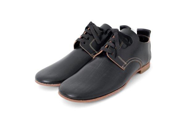 画像1: ブライドルレザー フラット紐靴(BK)