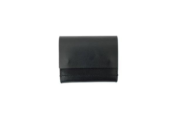画像1: オイルショルダーレザー 三つ折スナップボタン財布(BK)