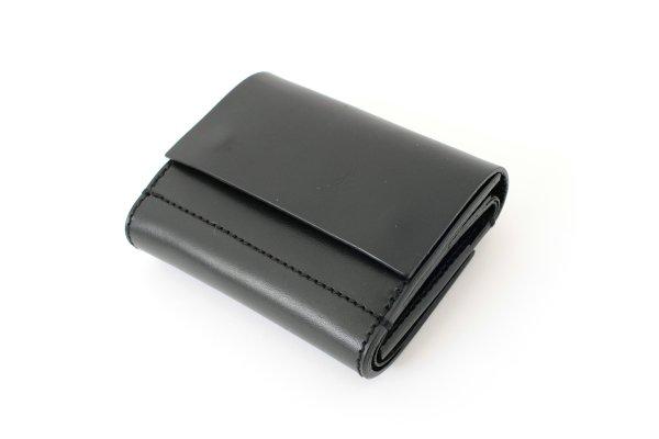 画像2: オイルショルダーレザー 三つ折スナップボタン財布(BK)