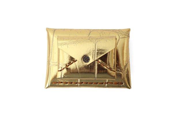 画像1: ワニの型押し 封筒型サイフ(40680:GD)