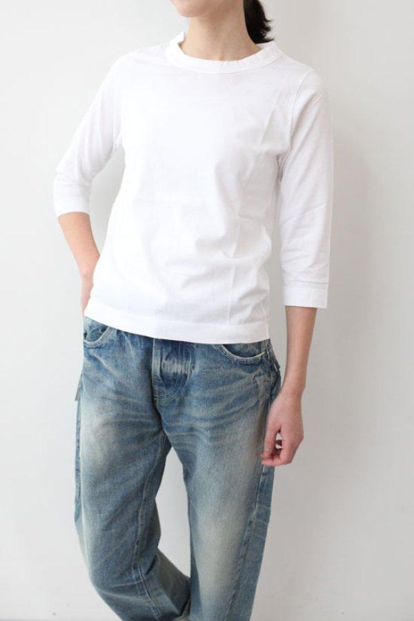 画像3: 30/-天竺 七分袖Tシャツ(181-6450:WH)