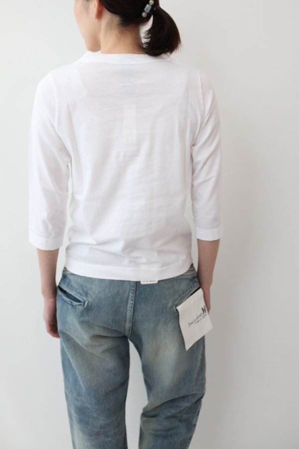 画像5: 30/-天竺 七分袖Tシャツ(181-6450:WH)