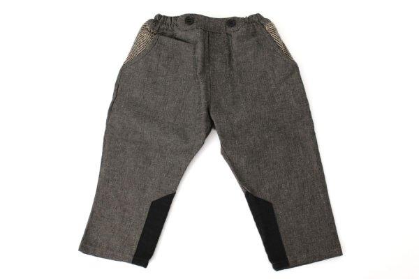 画像1: SALE40%OFF!! 子供服 ポケットヘリンボーンパンツ(BK)
