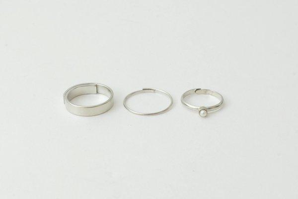 画像3: 真鍮×樹脂パール 3連リング (SV)