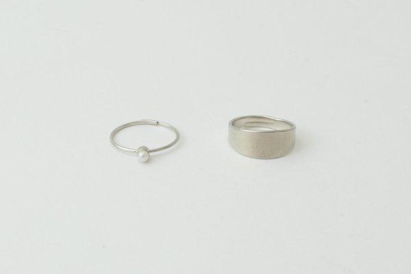 画像3: 真鍮×樹脂パール 2連リング (SV)